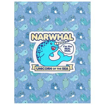 Narwhal Unicorn Of The Sea Fleece Blanket
