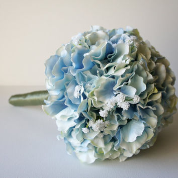 Blue Hydrangea Bouquet, Silk Wedding Flowers, Bridesmaid Bouquet, Rustic Wedding, Vintage Wedding, Bridal Bouquet, Bride, Bridesmade