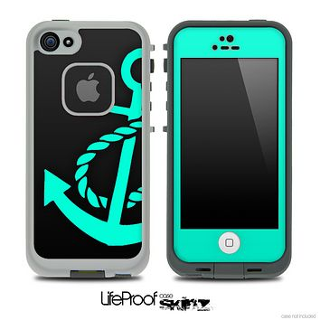Solid Black and Trendy Green Anchor Skin for the iPhone 5 or 4/4s LifeProof Case