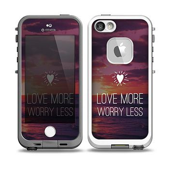 The Love More Worry Less at Dawn Sunset Skin for the iPhone 5-5s Fre LifeProof Case