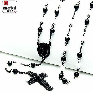 "Jewelry Kay style Men's 6mm Black White Bead Guadalupe Jesus Cross 28"" Rosary Necklace HR 600 KKWH"