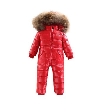 -30 Winter Snowsuit Baby 80% duck Down Romper Outdoor Infant Overcoat Clothes Girls Overall for Boys Kids Jumpsuit 2~6Y