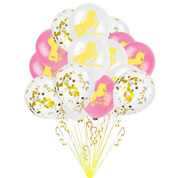 Romantic Unicorn Balloon 15pcs 12inch Happy Birthday Party Balloons Golden Paper Confetti Balloons New Year Wedding Decoration,7