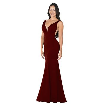 Deep V-Neck and Back Mermaid Long Formal Dress Burgundy