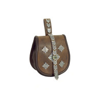 Leather hip bag with casting with plates of pewter
