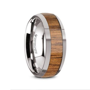 Exotic Teak Wood Tungsten Carbide Domed Anniversary Ring