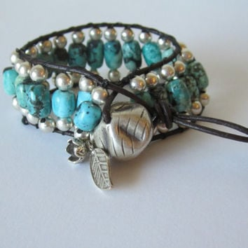 Beaded Leather Cuff Handcrafted American Turquoise Sterling Silver Karen Hill Tribe Charm Boho Tribal
