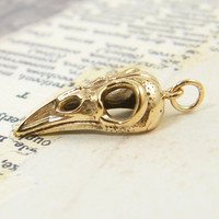 Bird Skull Pendant - Cast Bronze Jewelry Charm