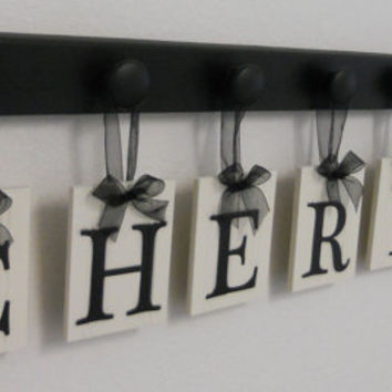 CHERISH Hanging Letter Sign Includes Wooden 7 Peg Hanger Display Rack in Black. Unique inspirational Gift for Husband, Wife, Spouse.