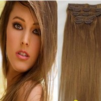 Light Brown Clip In 100% Human Hair Extensions
