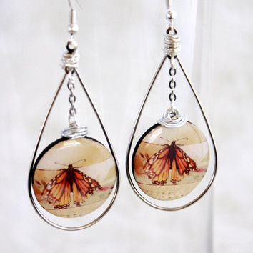 Butterfly Tear Drop Earring Hoops + Tea cup Monarch Butterfly - Photography Art Jewelry