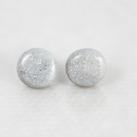 silver glitter polymer clay stud earrings, hypoallergenic, fashion jewelry, teen jewelry, fashion jewelry, minimalistic, gifts for her
