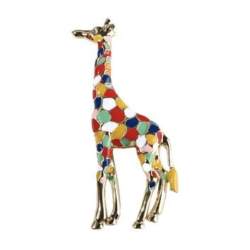 Colorful Enamel Giraffe Brooch Pin