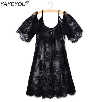 YAYEYOU Big Plus Size Women Lace Blouse Off Shoulder Beach Sunscreen Swimsuit Cover Up Summer Sheer Sexy Shirt Dress