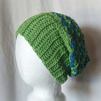 Green blue Men's cotton hat Crochet stripes slouchy beanie Ribbed brim  Summer unisex cap grunge beanie Skater hat
