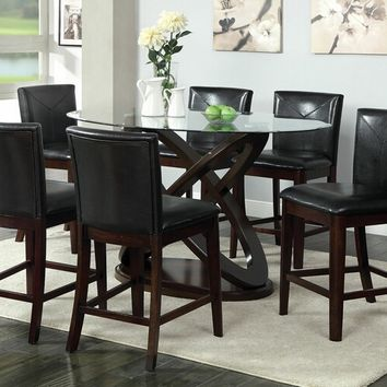 CM3774PT 7 pc atenna ii dark walnut finish wood oval glass top counter height dining table set