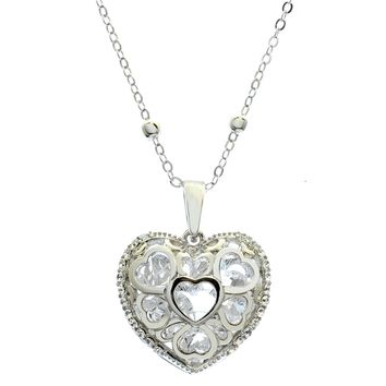 Women's Aluminum Plated Small Crystal Heart Pendant Necklace Neck Jewelry Gift