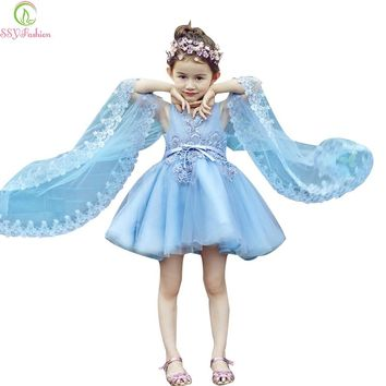 Short Flower Girl Dresses for Wedding Children Sky Blue Lace Embroidery Sleeveless with Shawl Party Gown