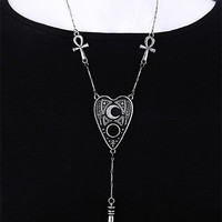 Restyle Goth Ouija Spirit Board Necklace with Ankh, Cross, Karnak and Pendulum