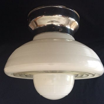 Vintage Acorn or Mushroom Art Deco Ceiling Light Fixture 1930s Hyperion Glass