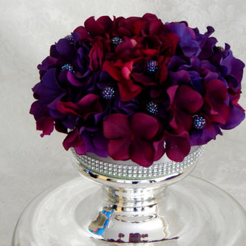 Wedding Cake Topper - Purple, Wine, Hydrangea Silk Flower Wedding Cake Topper- Made to Order- Gatsby Theme Wedding