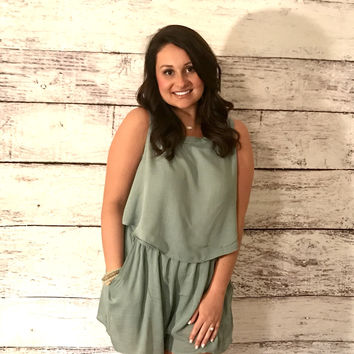 Double Layered Romper- Pastel Slate