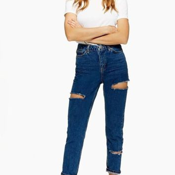 New Blue Cut Out Pockets Zipper High Waisted Casual Mom Long Jeans