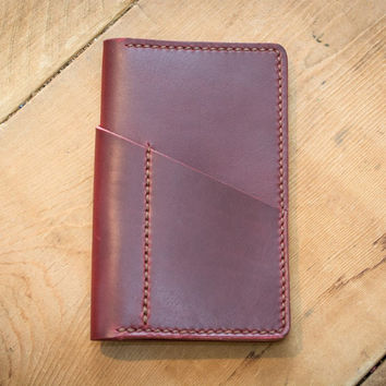 Cherry Leather Field Notes Cover (Wraparound Pocket)