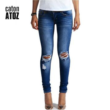 catonATOZ 1884 New Hot Fashion Ladies Cotton Denim Pants Stretch Womens Bleach Ripped Knees Skinny Jeans Denim Jeans For Female