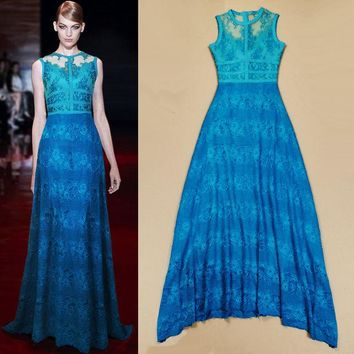 DCK9M2 New 2015 Fashion Blue Sleeveless Lace Perspective Stripe Expansion Bottom Dress Mopping Floor Maxi Dress