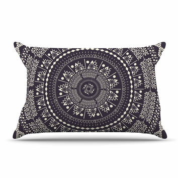 "Famenxt ""Swadesi Boho Mandala"" Black Illustration Pillow Case"