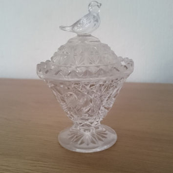 Vintage ornamental glass bird trinket dish with lid, beautiful and unique crystal cut glass
