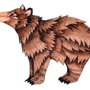 Bear Wall Hanging, Pyrography (Wood burning), Wall art, bear decor, black bear art, woodland art, woodland decor, forest animals, wood bear
