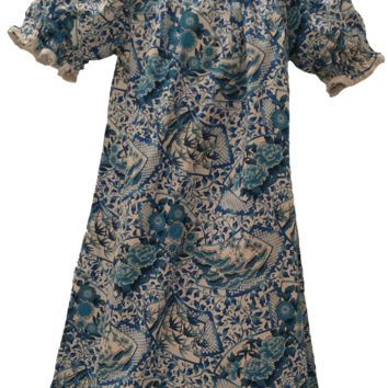 Blue Oriental Print Peasant Dress