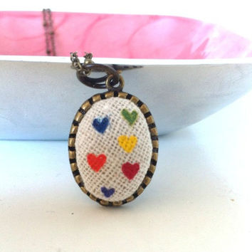 Hearts Necklace, Hand Painted Pendant, Fabric Pendant Oval Pendant Tiny Heart Necklace Love Jewelry Valentine Gifts for Her Colorful Jewelry