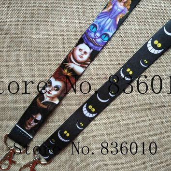 Hot Sale! Mixed 50 pcs Popular Alice in Wonderland  Cat  Lanyard Key Chains     Gifts Party Favors CC-10