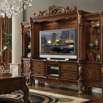 4 pc Dresden collection cherry oak finish wood entertainment center wall unit
