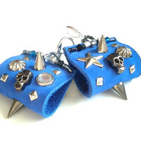 Blue Handcrafted Earrings /// Spike Earrings  /// Leather Earrings ///  Skull Earrings