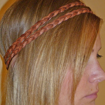 "Leather Braid Headband Double Strand - 1/3"" wide flat braided leather"