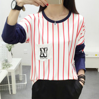 New Autumn Winter Women's Casual Loose Straps Long Sleeve T-Shirt Comfortable Tee Gift 195