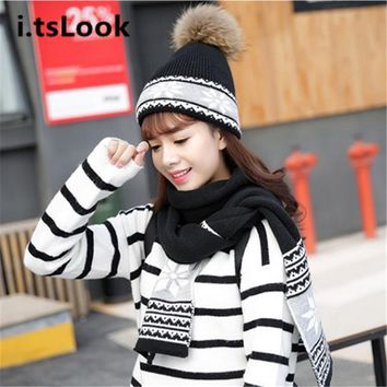Luxury Women Hat Scarf Set Girl Wrap Knitted Beanie Shawls Female Crochet Winter 2 Pieces Set Lady Scarves Gorros gifts BF-309