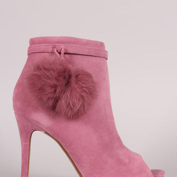 Shoe Republic LA Suede Pompom Stiletto Ankle Boots
