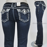 Women LA Idol Boot Cut Blue Denim Jeans Pants Rhinestones Jewels Fleur de Lis