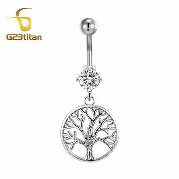 G23titan Summer Accessories for Beach Tree of Life Naval Piercing Rings 16G G23 Titanium Barbell Bell Button Jewelry