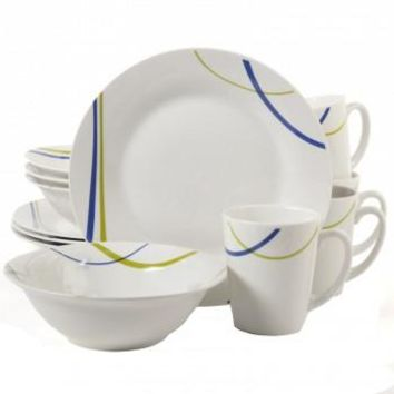 12-Piece Round Dinnerware Set Dinner Plates Bowls Mugs Ceramic White Dishes