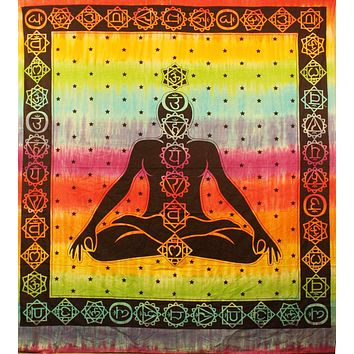 Seven Chakra Tapestry Tie Dye Bohemian Cotton Meditation Yoga Sheet 60 x 90 inches Rainbow