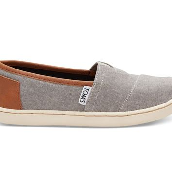 TOMS - Youth Classics Frost Grey Chambray Slip-Ons