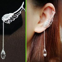 Angel's Wings Dangling Rhinestone Ear Cuffs (No Piercing) - LilyFair Jewelry