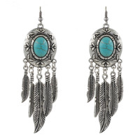 Western  Bohemian Feather Long Drop Earrings With Turquoise Vintage