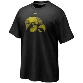 Nike Iowa Hawkeyes Black Distressed Logo Tri-Blend T-shirt